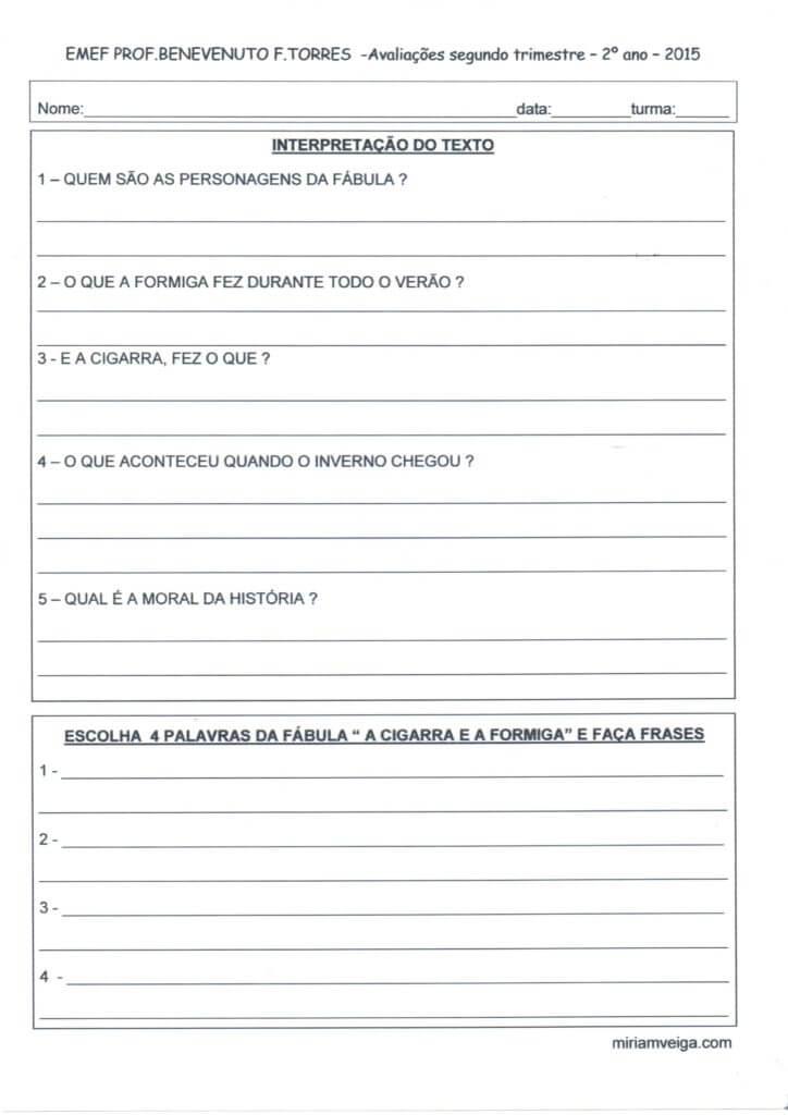 Avaliacao 2º Ano 2º Trim Interpretacao De Texto Alfabetizacao Blog