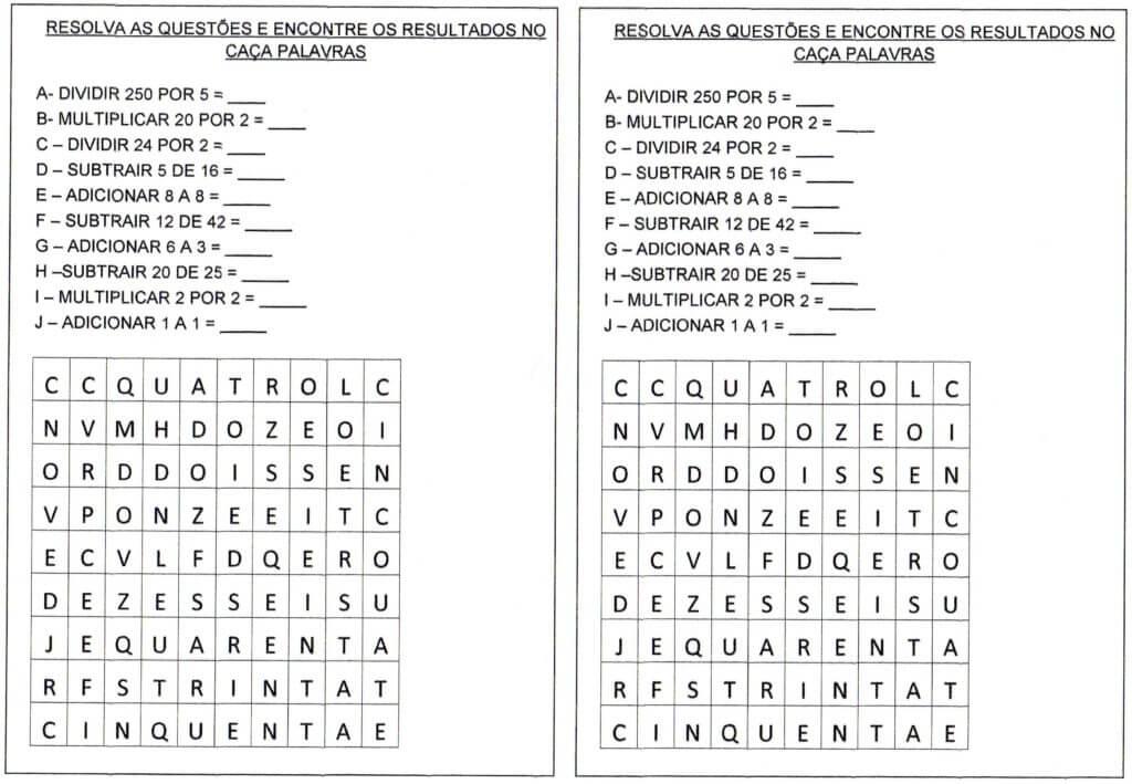 Caca Palavras Adicionar Subtrair Multiplicar E Dividir
